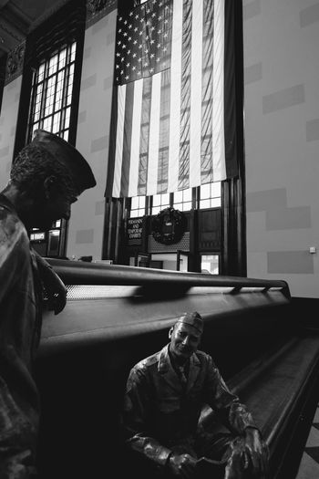 Visual Journal December 2016 - Union Station Durham Museum Omaha, Nebraska (Fujifilm Xt1,Fuji 10-24/f4 OIS) edited with Google Photos. A Day In The Life American Flag Americans B&w Photography Camera Work Christmastime Composition EyeEm Gallery Historical Building History History Through The Lens  Indoors  Omaha, Nebraska Photo Diary Series Soldiers Statues Storytelling Train Station Union Station Union Station Omaha Veteran Visual Journal Window