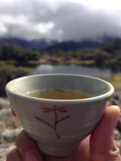/ Cheers, for you! NZ, 2015 / #universal #mothernature #peace #zenforeveryoung Korean Tea Tea Art Tea Zen Zen Forever Young Cheers Cup Drink Finger Food And Drink Green Tea Hand Holding Human Body Part Human Finger Human Hand Lifestyles Mug One Person Peak Personal Perspective Real People Refreshment Summit View Tea Cup