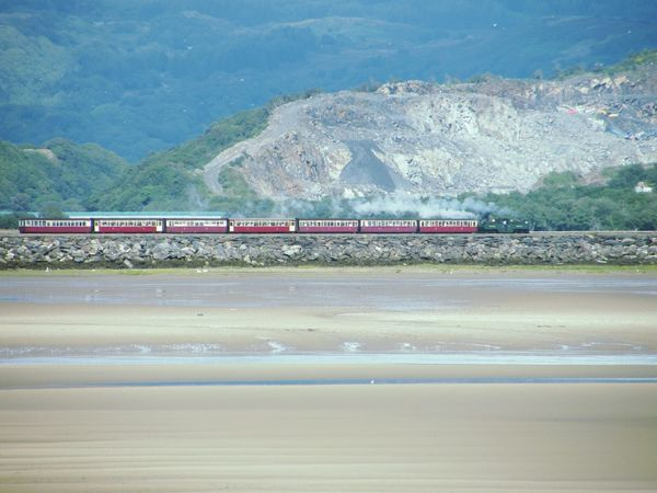 Beach Train - Vehicle Transportation Day Outdoors Water No People Sea Nature Tree Sky Beauty In Nature Low Tide Seaside Port Madog Borth Y Gest N.wales Travel Destinations