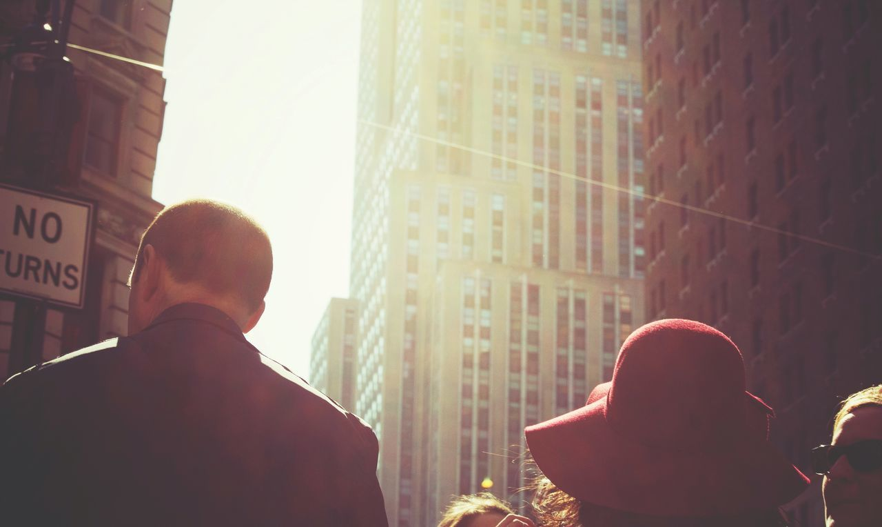 sunlight, rear view, real people, men, two people, day, outdoors, architecture, city, people