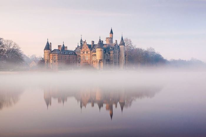 he castle of Marnix De Sainte Aldegonde in Bornem, Flanders, Belgium located on an old side arm of the river Schelde. The mist was rising from the water early in the morning just a s the sun was setting. Please visit for more pictures. Belgium Bornem, Castle Flanders Marnix De Sainte Aldegonde Nature Schelde Fog River Water,