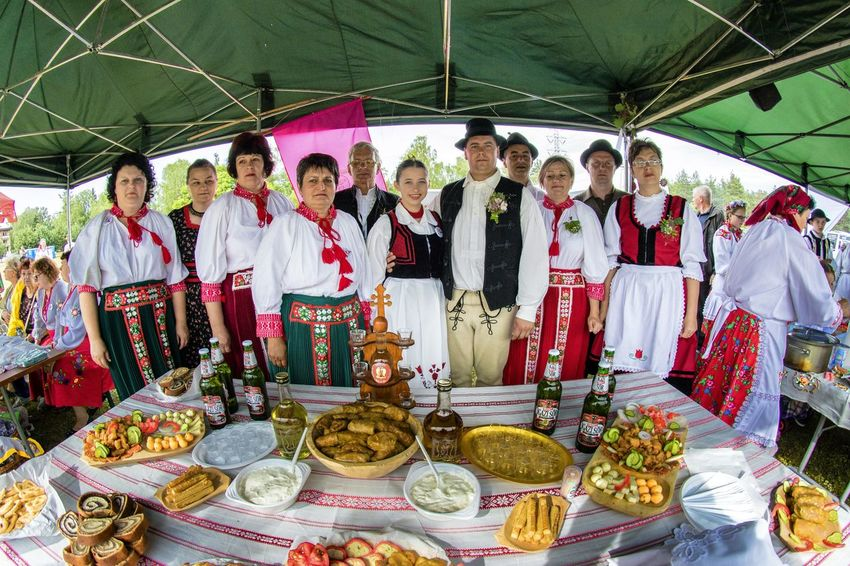 Traditional folk dishes from the area of Bukovina. Bukovina is a historic land in the Carpathians, now belongs to two states - Romania and Ukraine. Food And Drink Ready To Eat Sandwiches Traditional Clothing Day Food Large Group Of People Men People Real People Snacks Traditional Food Women