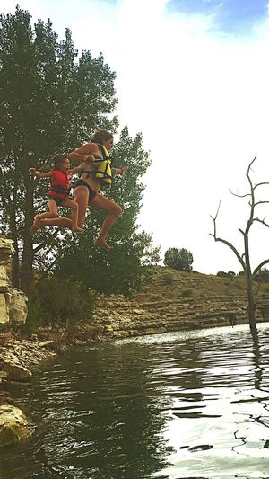 Cliff jumping young Colorado Lakes  Cliffs CliffJumping Parenting Parents ♥ Waterfront Waterscape Lakeside Love Lake Pueblo Daughter And Mother Daughter's Are Awesome