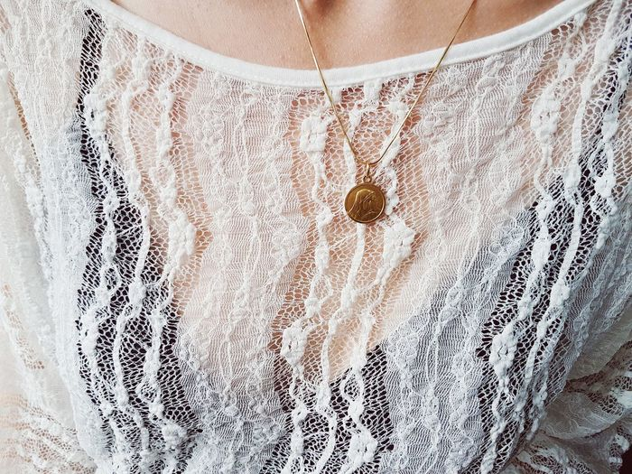 Close-up Lace - Textile White Color White Lace Necklace Neck EyeEmNewHere PhonePhotography Sensory Perception Elegant Stylish Fashion Gold Necklace Pendant Sommergefühle Contrasting Colors Be. Ready.