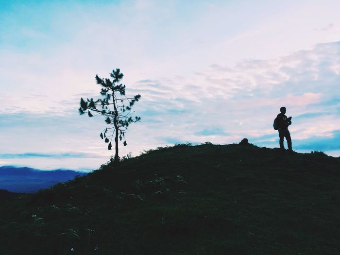 Silhouette Real People Landscape Adventure Sky Nature Mt.Ulap Clouds And Sky