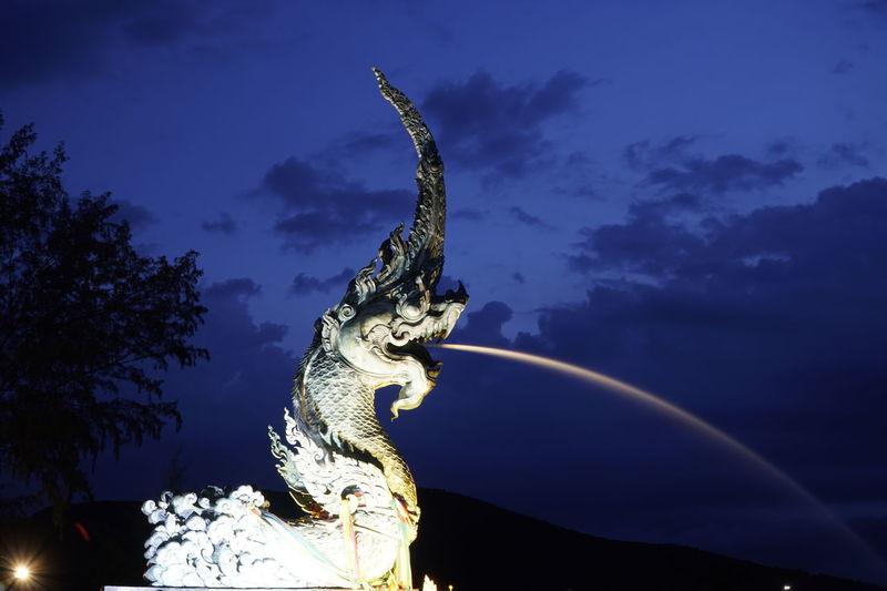 Naga Art And Craft Blue China Dragon Cloud - Sky Gargoyle Human Representation Low Angle View Night No People Outdoors Sculpture Serpent Sky Statue