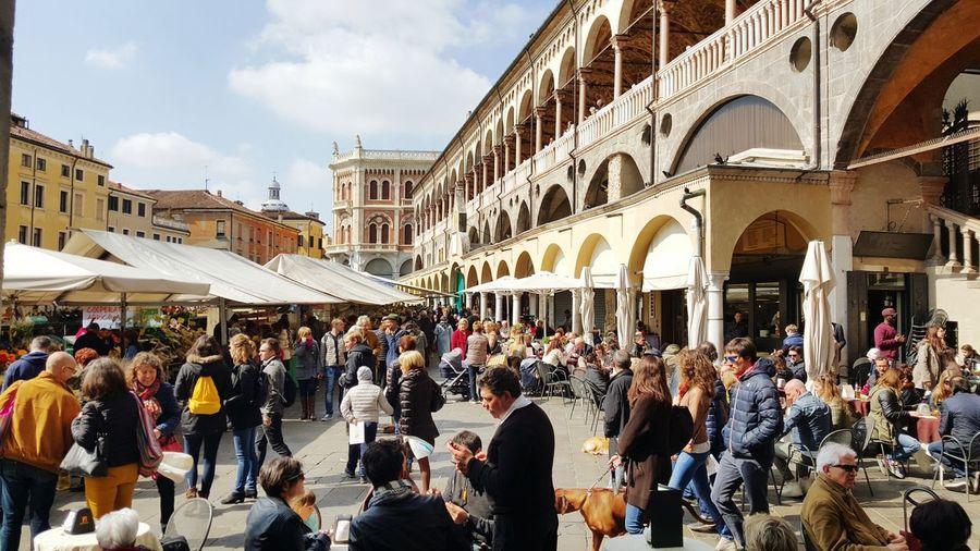 Tourists at street market