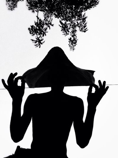 Dont'talk Silhouette White Background Low Angle View Tree Clear Sky One Person Women Outdoors Sky Day One Young Woman Only One Woman Only Young Adult Adult Human Hand EyeEmNewHere The Week On EyeEm