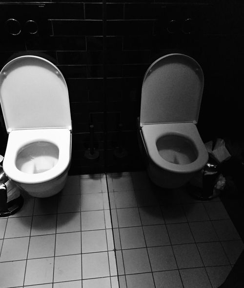 Bathroom Black And White Bulimia Convenience Domestic Bathroom Domestic Room Flushing Toilet Hygiene Illness Indoors  Mirror No People Reflection Tiled Floor Toilet Toilet Bowl Washing Machine