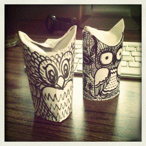 tissue paper rolls owl