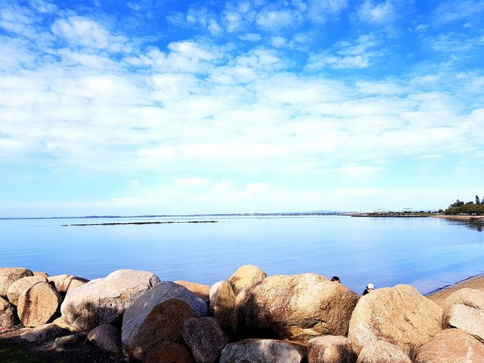 Sea Beach Water Tranquil Scene Tranquility Rock - Object Outdoors Horizon Over Water Nature Sunny Day Pebble Beauty In Nature Sky Landscape Scenics Cloud - Sky No People Sunlight Blue