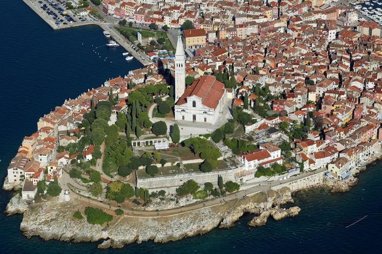 Aerial photo of rovinj town, istra, croatia