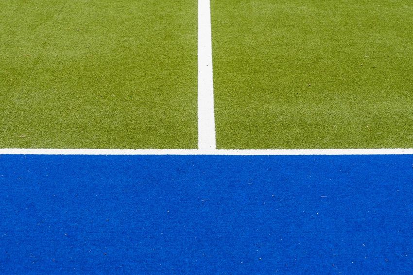 Backgrounds Blue Close-up Copy Space Court Day Football Field Geometric Shape Grass Green Color Hockey Field Lines Minimalism Minimalist No People Outdoors Playing Field Soccer Field Sport White Color Krull&Krull Images The Architect - 2017 EyeEm Awards