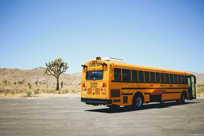 Iwantthatcamera School Bus Transportation Land Vehicle Sky Mode Of Transportation Clear Sky Copy Space Nature Road Desert Truck Travel