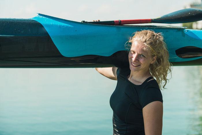 Athlete Cool Females Girl Power Happiness Kayaking Rowing Water Sport Woman Black Blue Boat Female Female Athlete Girl Kayak Kayaker Kayakingadventures Lake Real People Smiling Sport Sport Rowing Water Water Sports