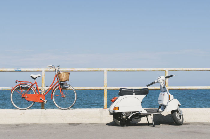 Italy Trani Puglia Bicycle Motorcycle Vespa Parking Urban Landscape Seaside City Life