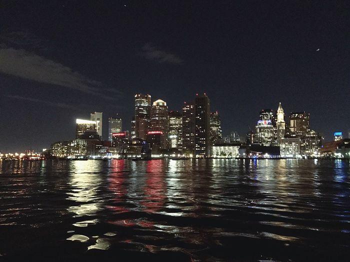 Boston Night City Urban Skyline