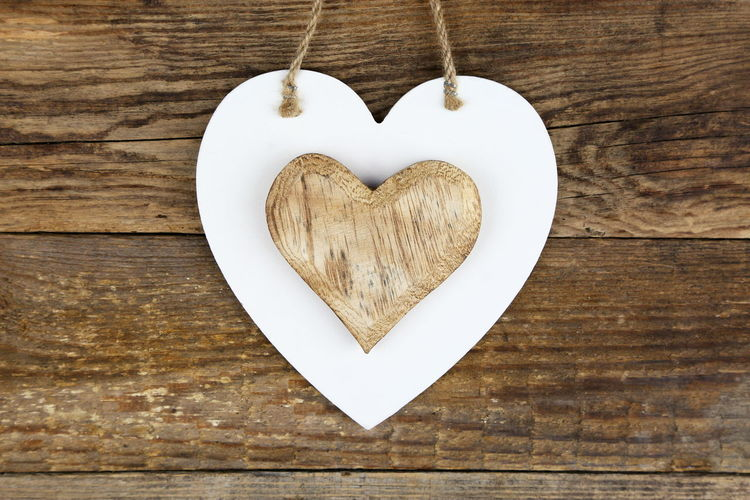 Close-Up Of Wooden Heart Shape On Table