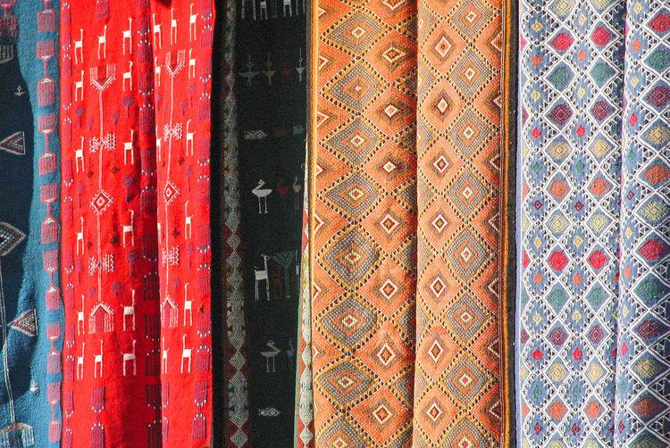 Sidi Bou Said, near Tunis, Tunisia Red Day Pattern Indoors  Tunisia Close-up Sidi Bou Said No People Backgrounds Full Frame Multi Colored Wood - Material Colourful Fabrics A Taste Of Tunisia Fabrics For Sale