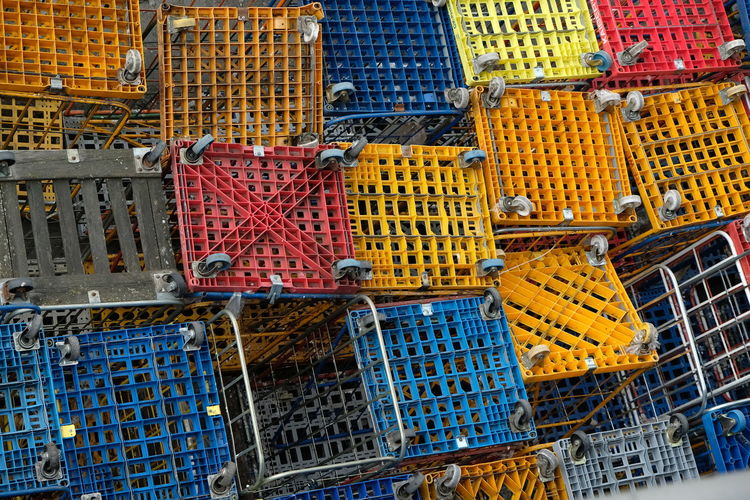 High angle view of colorful crates