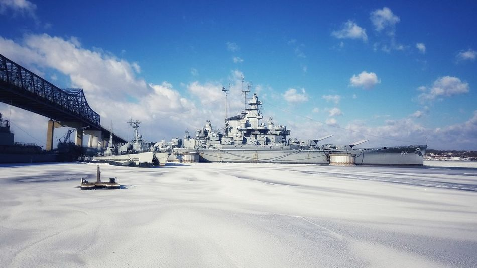 USS Massachusetts. Maritime Photography Maritime Museum War Ship History EyeEm Best Shots Sky Cloud - Sky Outdoors Blue Travel Destinations Day No People Transportation Cold Temperature Snow Winter