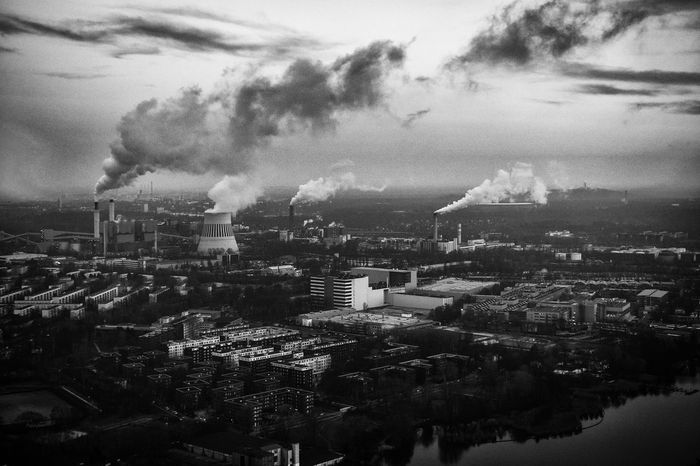 Air Pollution Architecture Berlin Built Structure City Cityscape Emitting Factory Feinstaub Fumes Gray Industry Pollution Power Plant Sky Smoke - Physical Structure Smoke Stack