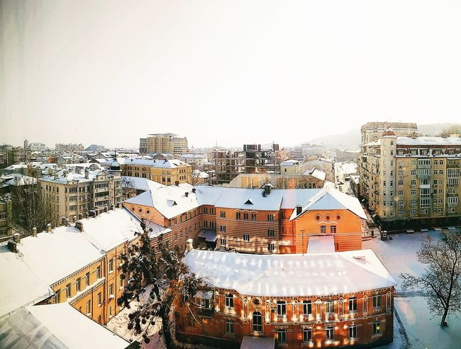 Podol district, Kiev City Cityscape High Angle View Sky Architecture Building Exterior Built Structure Rooftop TOWNSCAPE Roof Town Old Town Housing Settlement Stories From The City