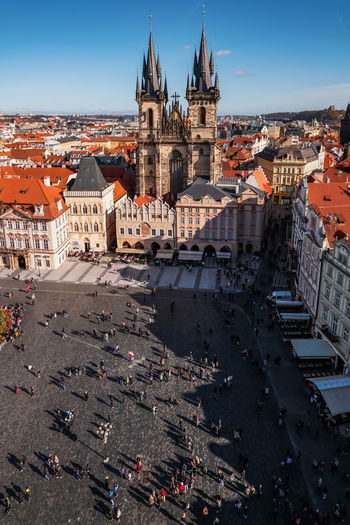Aerial view of prague with our lady of tyn church in old town square