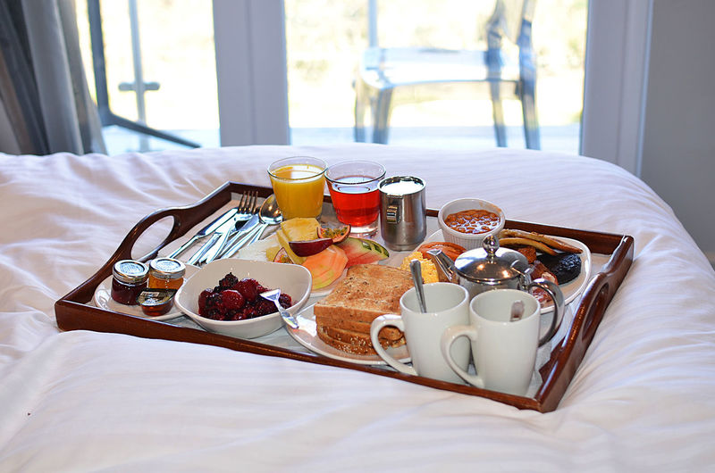Breakfast on bed at home