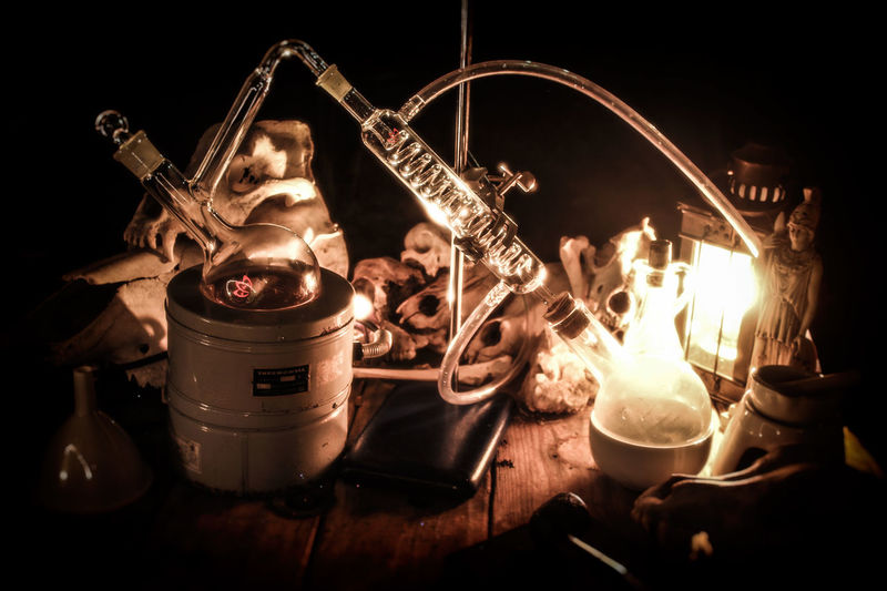 Alchemy Apothecary Distillation Magic Moonshine Potion Retort Science