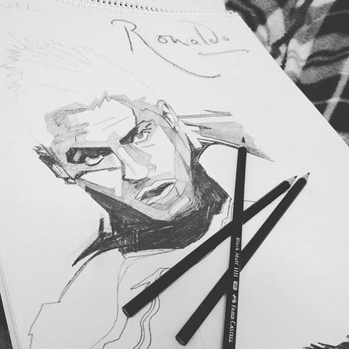 Work in progress! Ronaldo Unfulfilledwishes Squareone Love Dowhatyoulove  Instapic Instagram Football Pencildrawing Happiness Satisfaction Instagood Insta Cr7 CristianoRonaldo Realmadrid
