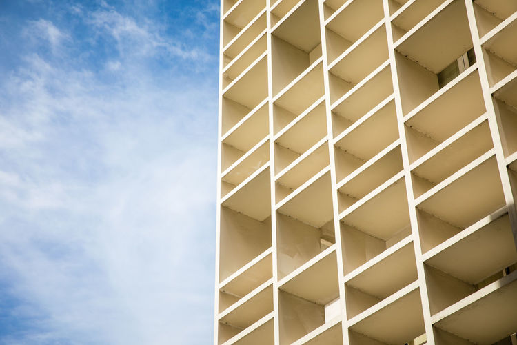 Abstract background view of vintage building and blue sky