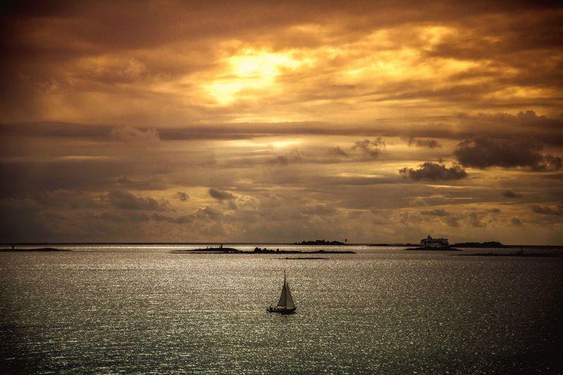Boat Clouds And Sky Sun Sunset Sea Orange Nice Day