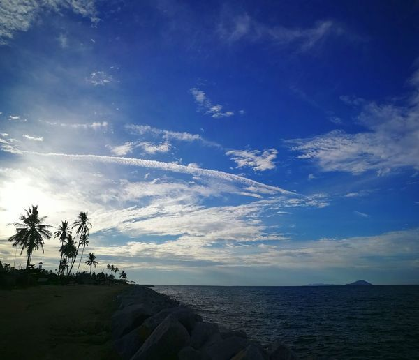 Cloud - Sky Blue Sky Beach Horizon Over Water Sea Silhouette Nature Tree Beauty In Nature Scenics No People Landscape Tranquility Outdoors Sunset Day Water Kuala Terengganu Malaysia Sommergefühle Been There.