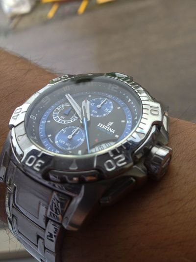 Accuracy Clock Clock Face Close-up Festina From My Point Of View Hint Of Blue Silver - Metal Single Object Time Watch Watches Wristwatch
