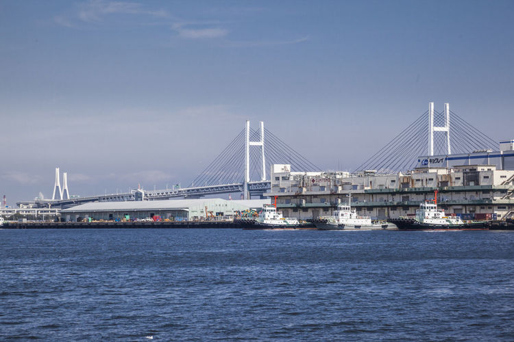 Tokyo bay against yokohama bay bridge in city