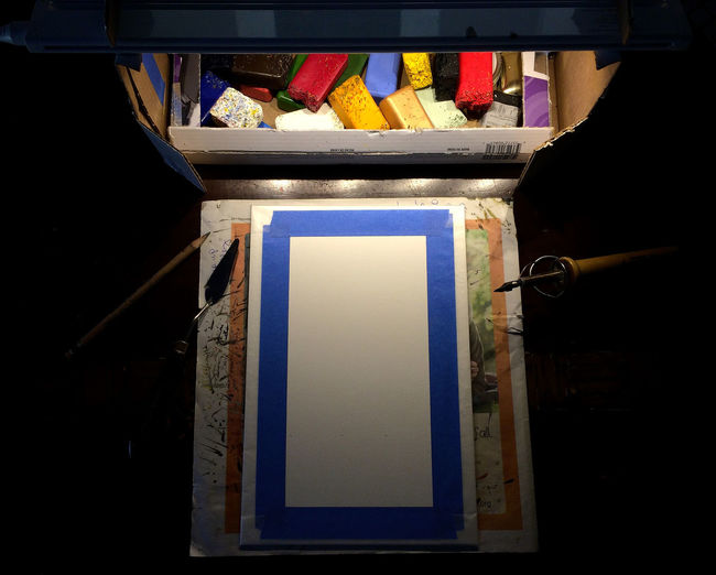 inspiration and creativity await a blank white surface. Blank Blue Close-up Creativity Encaustic Expectation Indoors  Inspiration Lamp Light Multi Colored Paint Painting Pigment Red Still Life Table Tape White Wood - Material