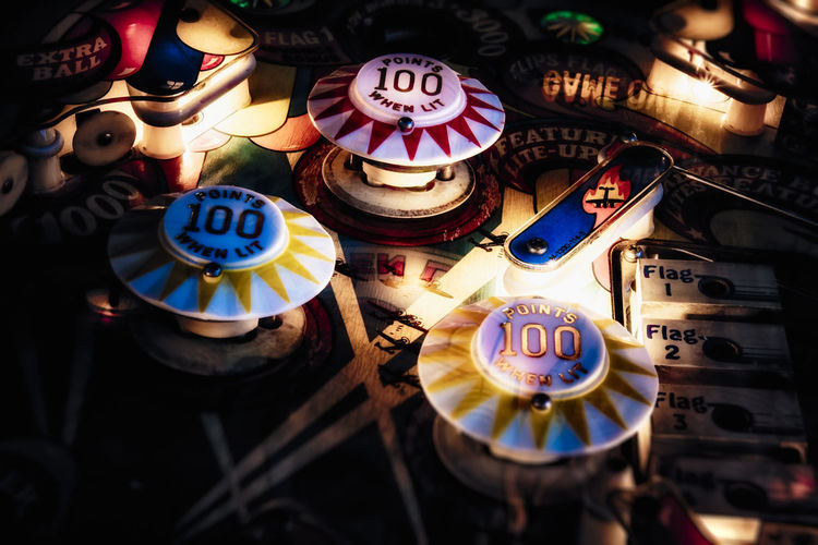 Arcade Bumper Close-up Game Indoors  No People Pinball Retro Wizard