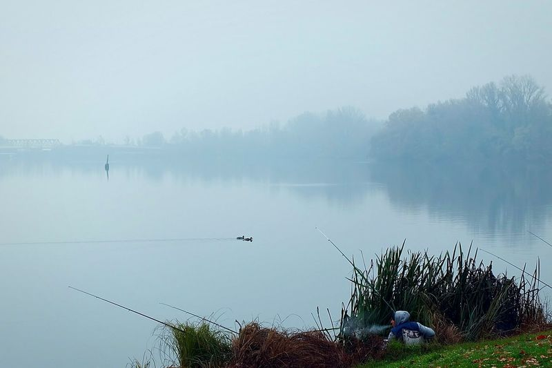 A fisherman in Mantua (December 2015). Mantova Mantua Lake Lago Fisherman Pescatore Autumn Mist Fog Nebbia Lombardia Solitude Fujifilm