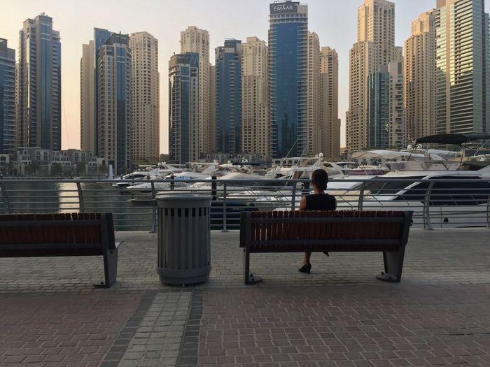 Dubai Marina yatch club Bench Modern Architecture Waiting Architecture Boat Built Structure City Modern City Outdoors Yatch