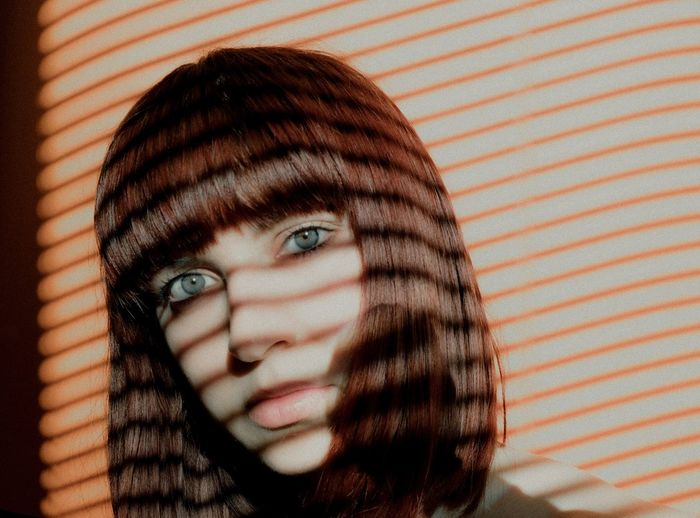 Face Self Portrait One Person Portrait Headshot Human Face Looking At Camera Indoors  Close-up Human Body Part Body Part Young Adult Striped Beautiful Woman