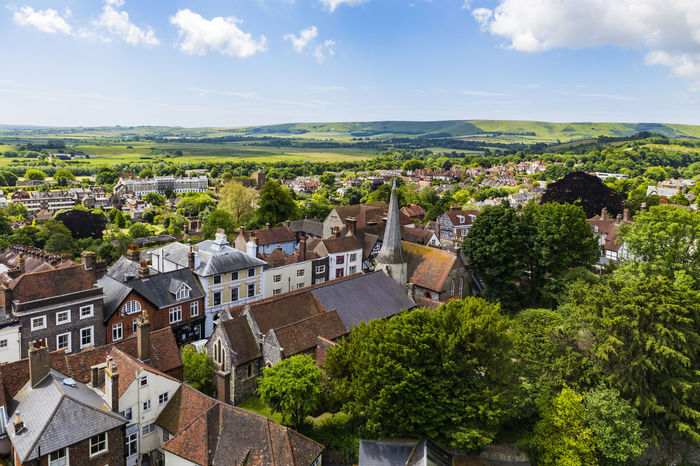 English landscape from Lewes Castle, Lewes, East Sussex, England Architecture Building Exterior Built Structure City Cityscape Cloud - Sky Day High Angle View House Nature No People Outdoors Residential Building Roof Scenics Sky Tiled Roof  Town Tree