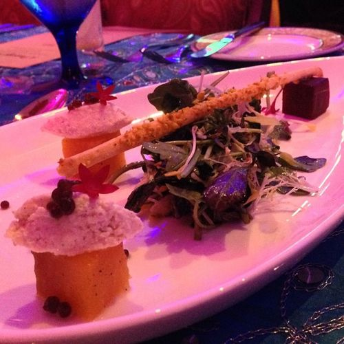 Roasted red and golden beet salad, paneer cream, petite greens PassagetoIndia Rcmemories