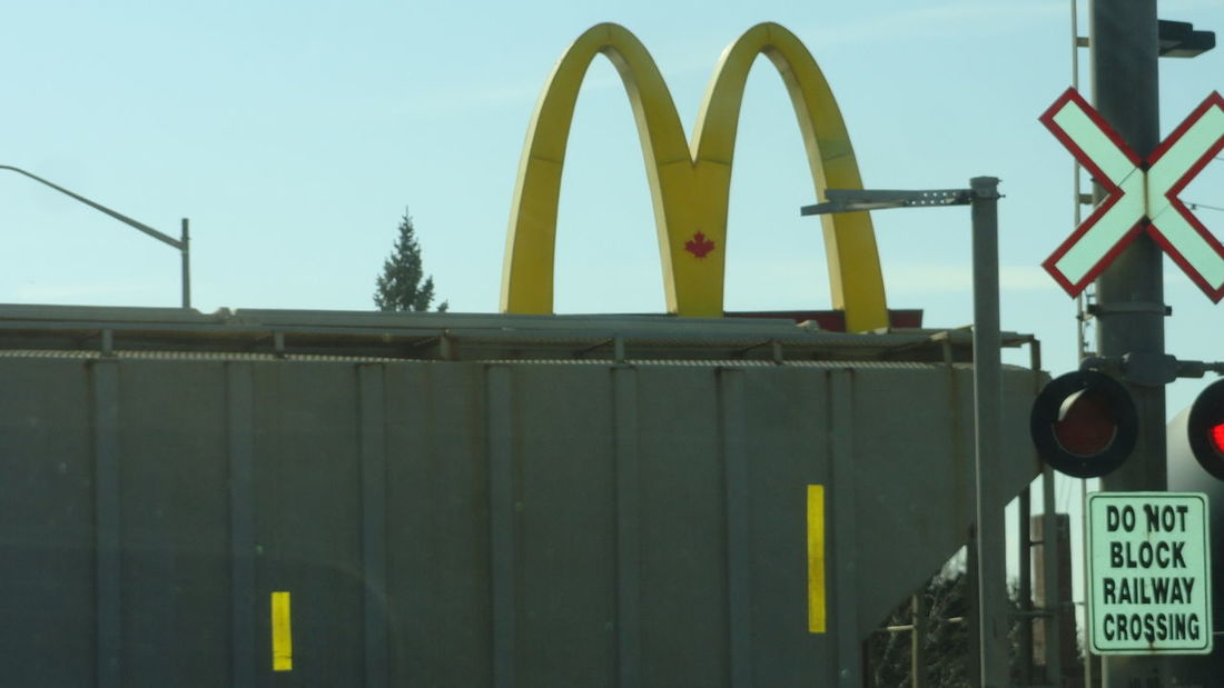#Mcdonalds #railroad #Train Day Green Color No People Outdoors Sky Yellow