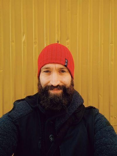 Yellow & Red Whale Trail Tour Norway Self Portrait Beard Travel Photography Portrait