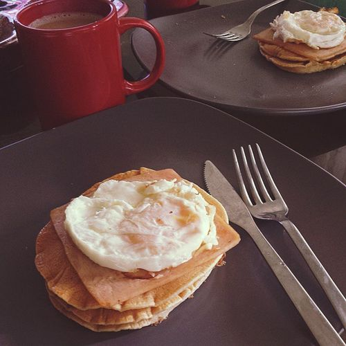 ...of pancakes x hams x eggs. Domesticgoddesswannabe 😁💕👌☕