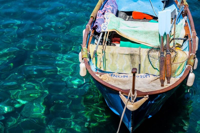 Boat Row Boat Tuscany Italy Sea Blue Nautical Vessel Water Transportation High Angle View Mode Of Transport Day Outdoors No People Nature