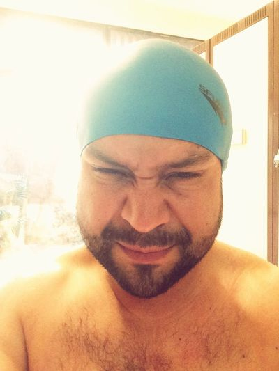 Front View One Person Headshot Young Adult Portrait Day Shirtless Real People Beard Close-up Indoors  Headwear One Man Only Only Men Adult People Adults Only Swimcap Swimming