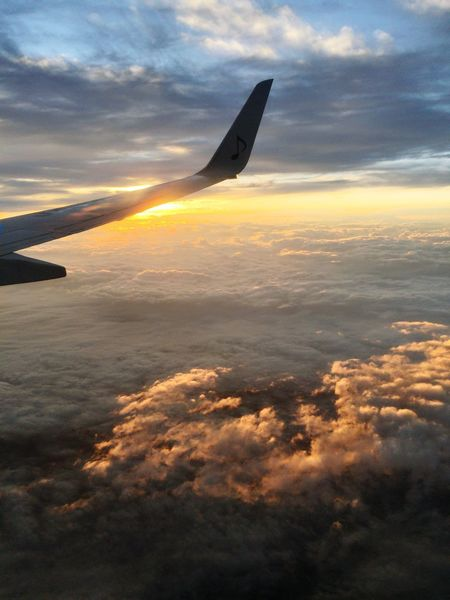 Sky Cloud - Sky Sunset Transportation Airplane Journey Nature Flying Airplane Wing Air Vehicle Mode Of Transport Beauty In Nature Outdoors Scenics No People Mid-air Day