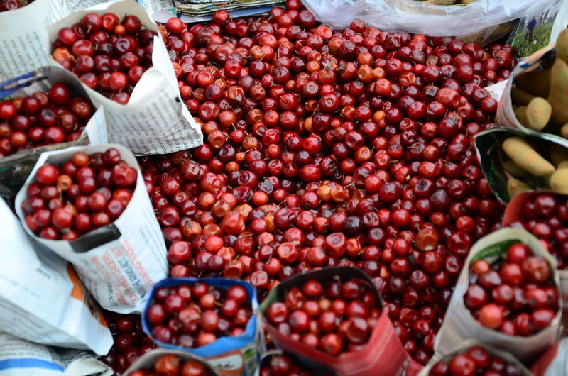 High Angle View Of Berries For Sale In Market